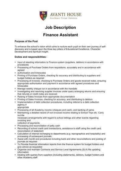 Job Description Finance Assistant - Avanti Schools Trust - financial assistant job description