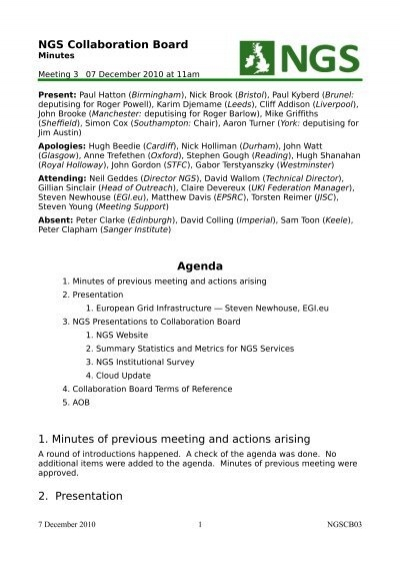 NGS Collaboration Board Agenda 1 Minutes of previous meeting