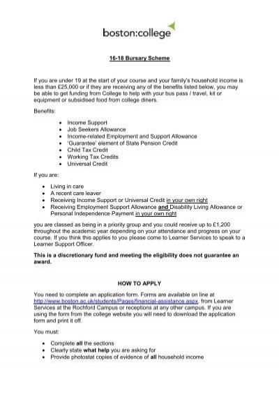 16-18 Bursary Scheme - Application Formpdf - Boston College