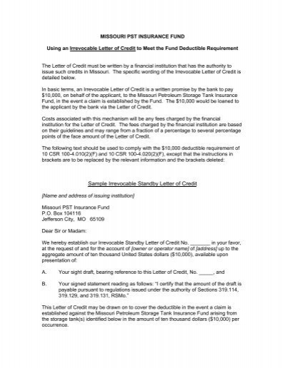 Standby Letter Of Credit Sample Text – Letter of Credit Sample