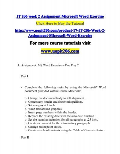 IT 206 week 2 Assignment Microsoft Word Exercise