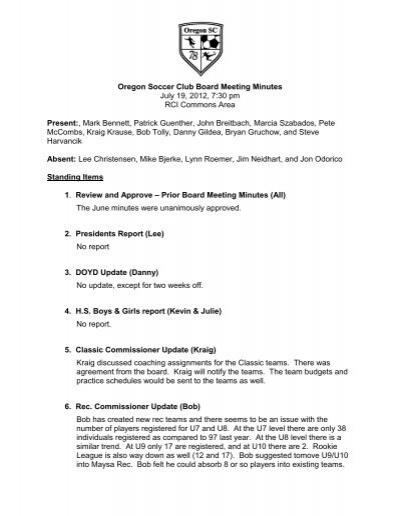 STMA United Soccer Club Board Meeting Agenda Thursday, March