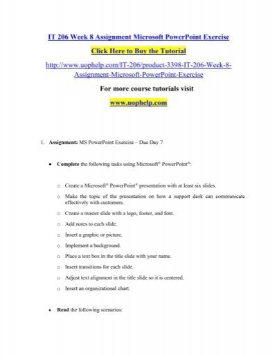 IT 206 Week 8 Assignment Microsoft PowerPoint Exercise