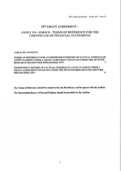 fp7 grant agreement annex vii - form e - terms of reference for