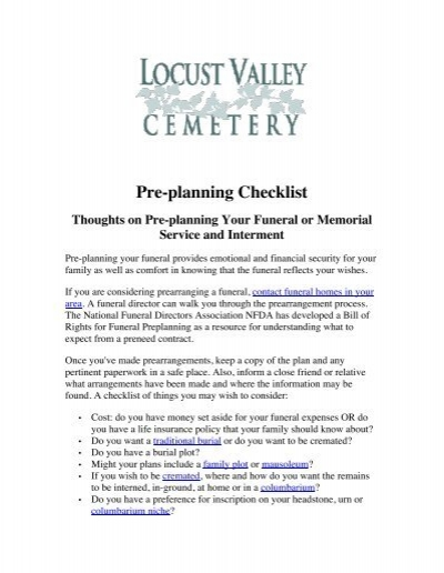 Funeral Pre Planning Guide Long Island NY