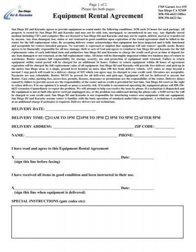 Equipment Rental Agreement - 858-356-6622 - equipment rental agreement
