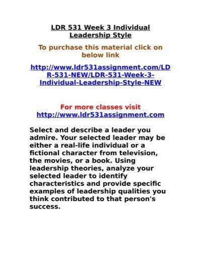 LDR 531 Week 3 Individual Leadership Style