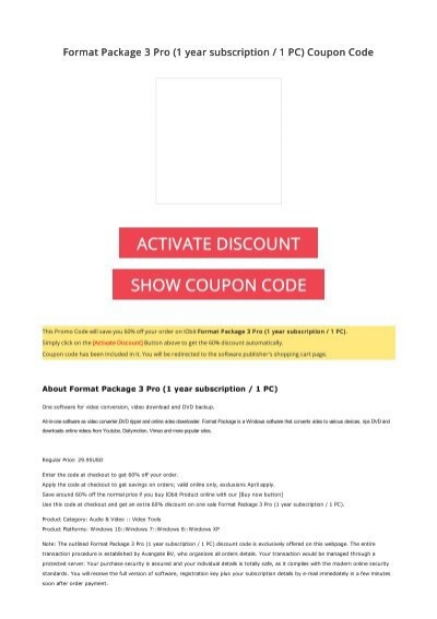 60 OFF Format Package 3 Pro (1 year subscription / 1 PC) Coupon