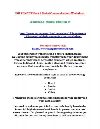 UOP COM 295 Week 2 Global Communications Worksheet - welcoming messages for new employees