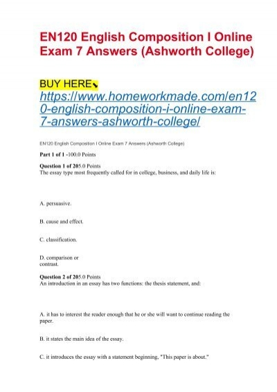 EN120 English Composition I Online Exam 7 Answers (Ashworth College)