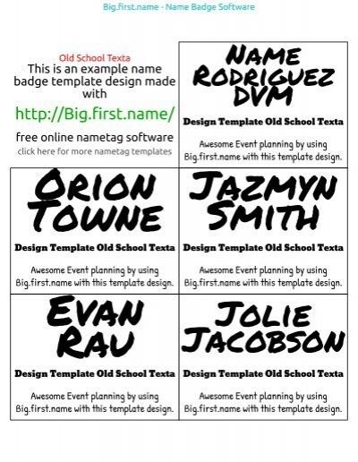 Badge Template Old School Texta - Name Badge Software