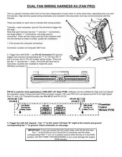 DUAL FAN WIRING HARNESS Kit (FAN PRO) - Wester\u0027s Garage