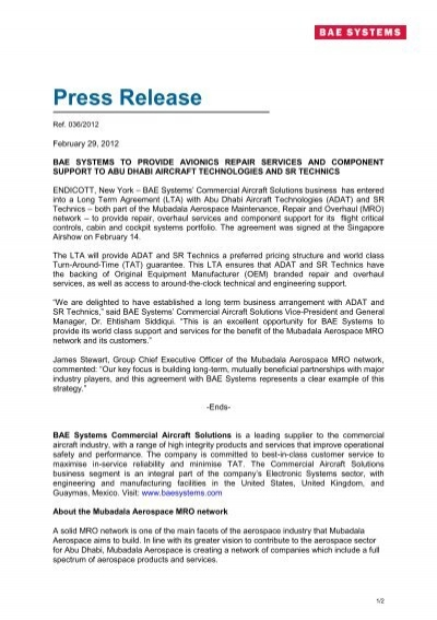 Press Release - BAE Systems - Commercial Aircraft Solutions