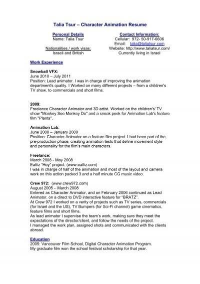 English Resume - Talia Tsur