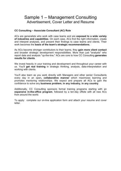 Sample 1 \u2013 Management Consulting - Careers Online - University of