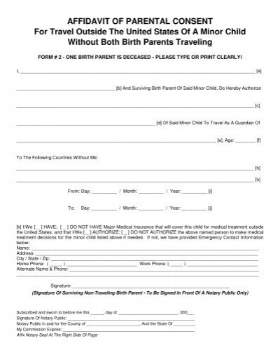 AFFIDAVIT OF PARENTAL CON - parental consent to travel form