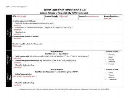 ELA Teacher Lesson Plan Template (Gr K-5)
