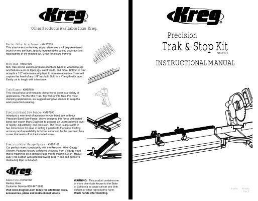 INSTRUCTIONAL MANUAL - Kreg Tool