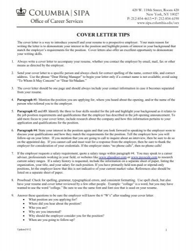 COVER LETTER TIPS - SIPA - Columbia University