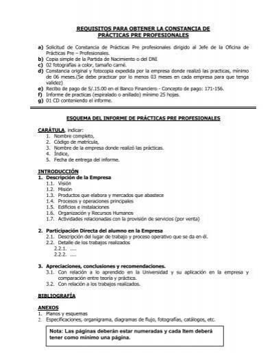 informe de prácticas pre profesionales - Facultad de Ingeniería