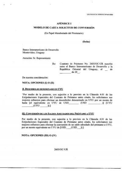modelo de carta solicitud de conversión - Presidencia de la República