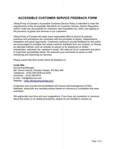 accessible customer service feedback form - Viking Pump Canada - service feedback form