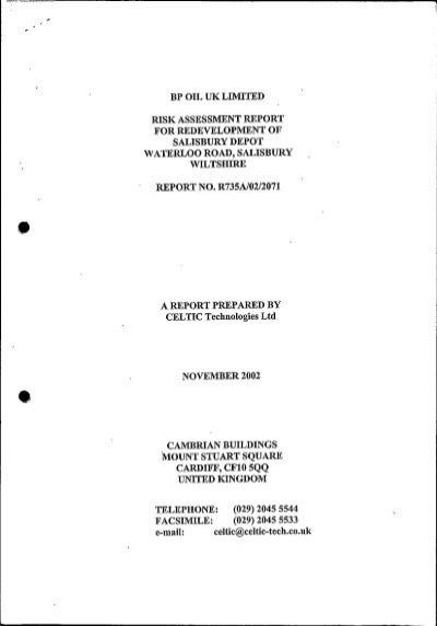 bp oil uk limited risk assessment report for redevelopment of - risk assessment report
