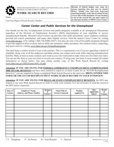 Work Search Record - Missouri Department of Labor  Industrial