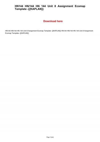 HN144 HN/144 HN 144 Unit 8 Assignment Ecomap Template -{{KAPLAN}} - ecomap template