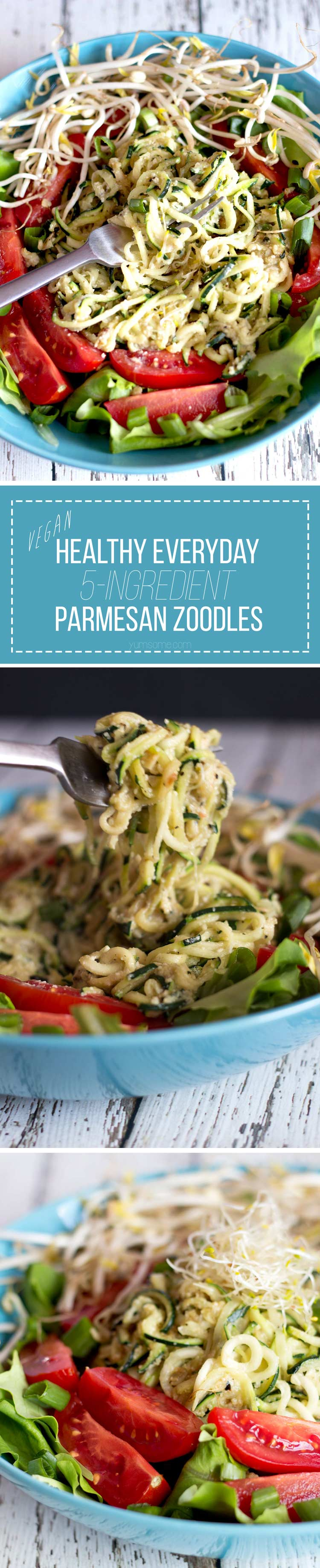These healthy 5-ingredient vegan parmesan zoodles are stupidly simple to make, full of goodness and flavour, and make for a perfectly light weeknight supper. | yumsome.com