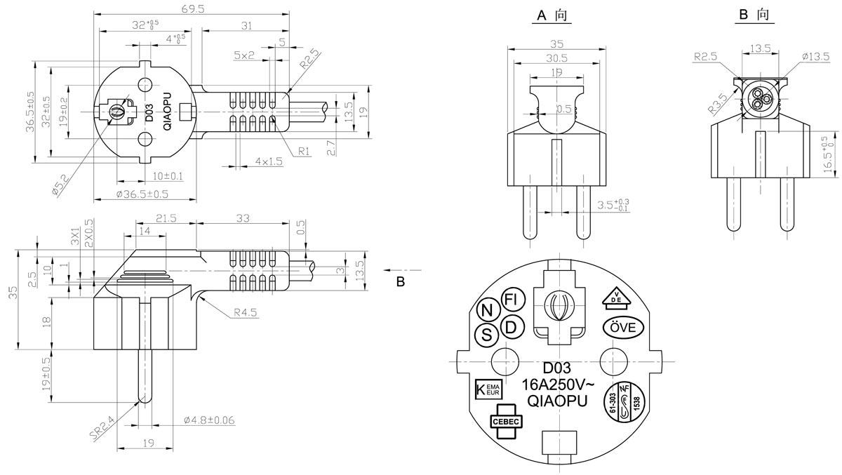 schuko power cord wiring diagram