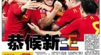 <p>Tras la victoria de ayer del equipo español, los medios chinos se han lanzado a hablar de un cambio de reinado en el fútbol. Muchos se han quedado desilusionados con Alemania, pero han alabado el talento de España. Descubre algunas de las portadas de los medios chinos, las encuestas que dan favorita a España para la final, los comentarios de los internautas....</p>