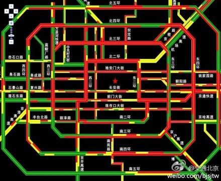 El tráfico de Pekín, a las 19:12 horas.