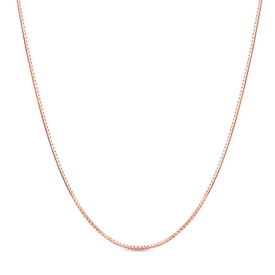Ladies\u0027 07mm Box Chain Necklace in 14K Rose Gold - 22\