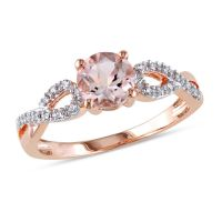 6.0mm Morganite and Diamond Accent Twist Engagement Ring ...