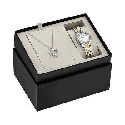 Ladies\u0027 Bulova Crystal Accent Two-Tone Watch with Mother-of-Pearl