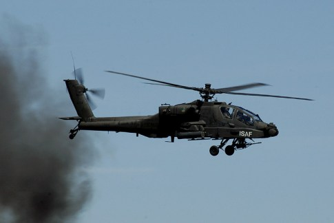A Royal Netherlands Air Force AH-64D Apache of the International Security Assistance Force (ISAF) in Afghanistan.