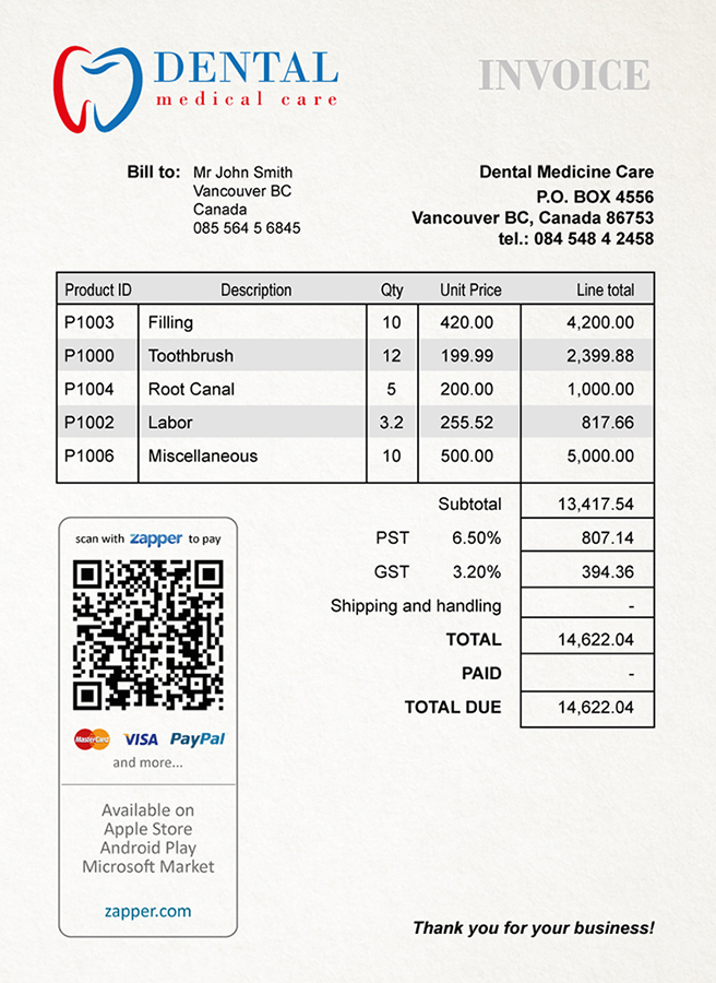 Zapper™ Bills Sample Invoices