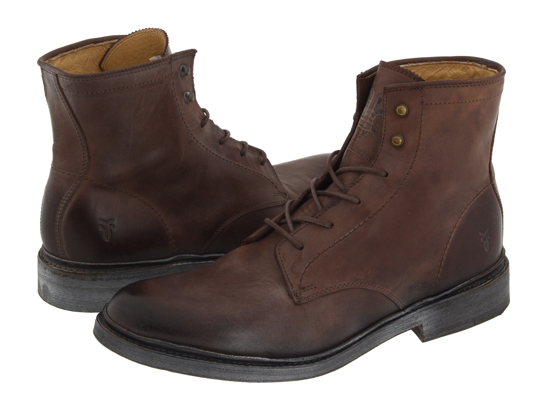 Frye James Lace Up Brown Leather Zapposcom Free