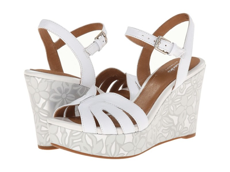 Clarks - Amelia Page (White Leather) Women's Wedge Shoes