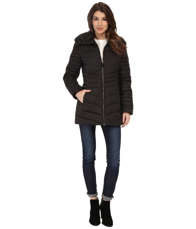 Marc New York by Andrew Marc - Kirby 30 Cevron Down Pillow Collar (Black) Women's Coat