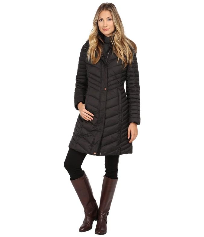 Marc New York by Andrew Marc - Karla 37 Chevron Down w/ Faux Fur Hood (Black) Women's Coat