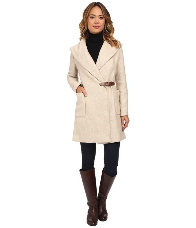 LAUREN by Ralph Lauren - Buckle Front Wrap Coat (Fawn) Women's Coat