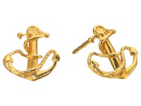 Alex and Ani Post Earrings Anchor Gold - Zappos.com Free ...