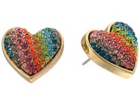Betsey Johnson Rainbow Pave Heart Stud Earrings - Zappos ...