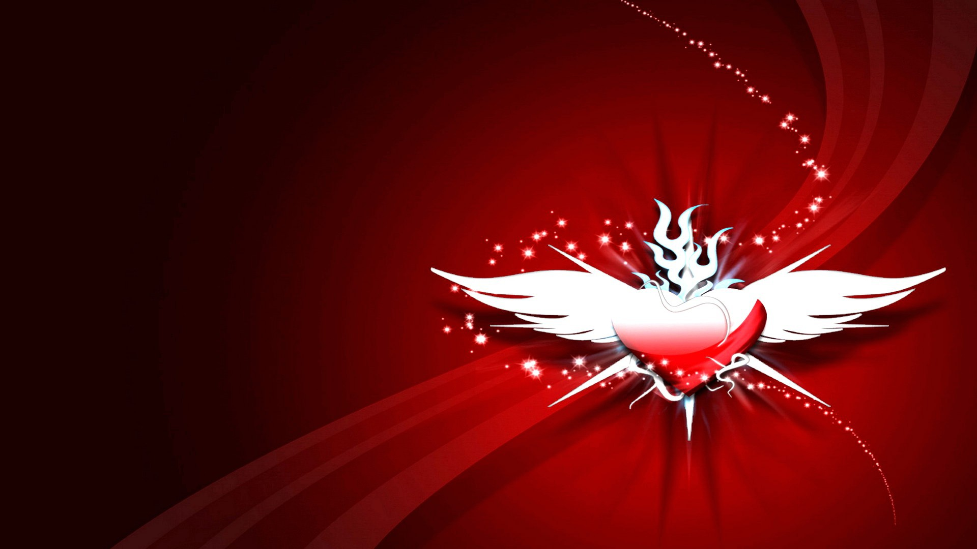 Creative Hd Wallpapers Free Download A Heart With Wings On A Red Background Wallpapers And