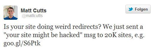 Matt Cutts hat 20.000 Mails an Webmaster angekündigt - im Jahresverlauf könnten es über vier Millionen Warnungen werden (Screenshot: ZDNet bei Twitter).