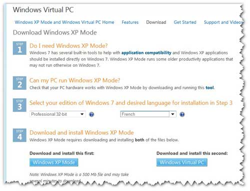 Download Windows XP Mode and Virtual PC