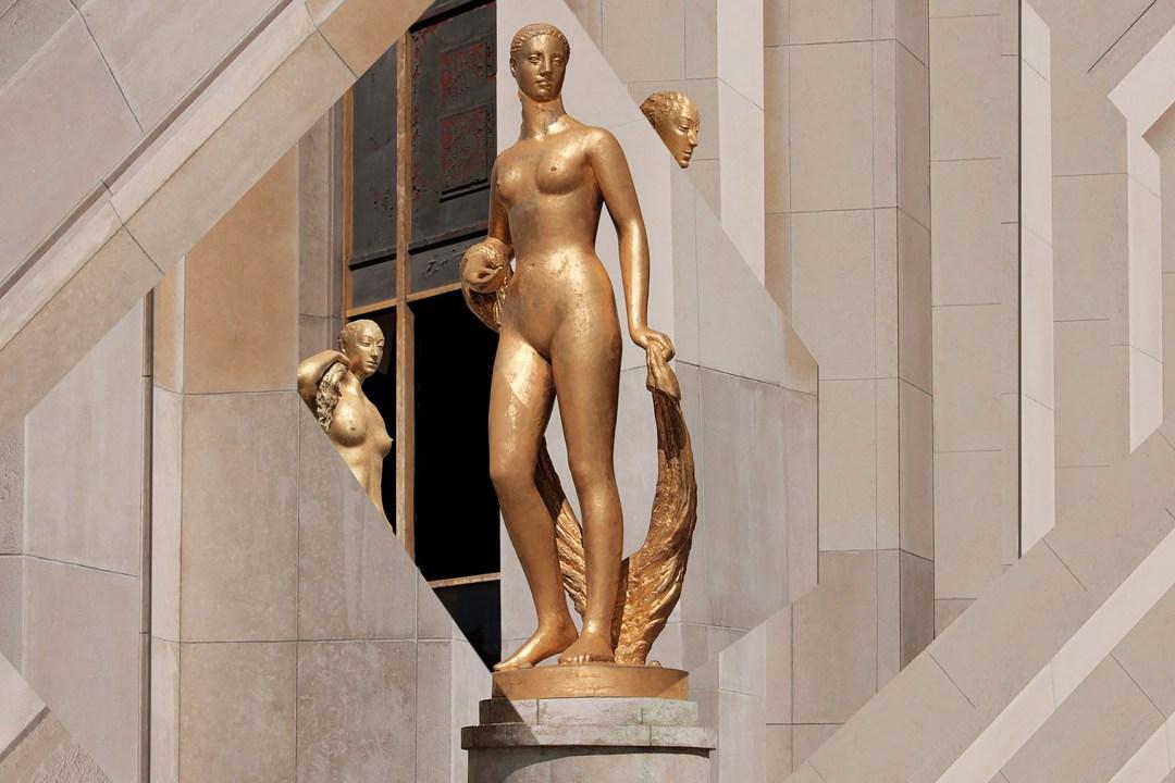 Wolfgang Ahrens Goldene Statuen am Palais de Chaillot, Place du Trocadero 2018