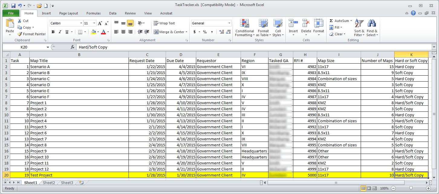 task tracking spreadsheet
